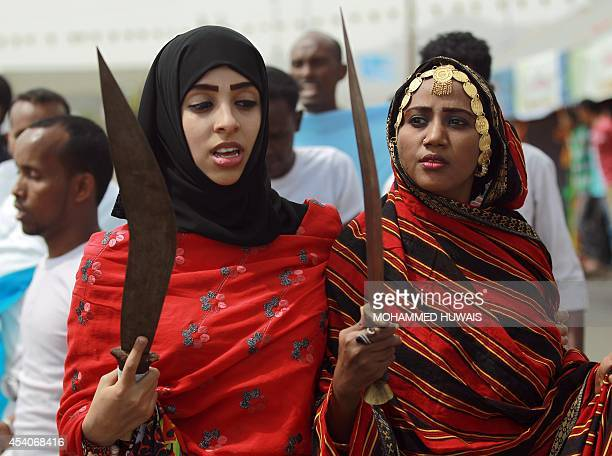 Somali women perform during the Yemeni Sanaa Summer Festival in Sanaa on August 24 2014 Yemen holds the week long festival in an attempt to revive...