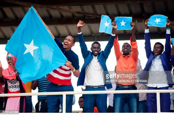 Somalia fans cheer before the first round African Nations Championship qualifying football match between South Sudan and Somalia at Juba Football...