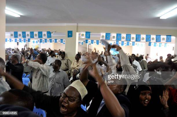 Somalia lawmakers shout in protest against the legality of the speaker Sheik Adan Mohamed Nur during a session in which around 300 lawmakers refused...