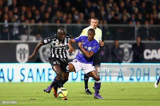 Somalia of Toulouse and Cheikh Ndoye of Angers during the football french Ligue 1 match between Angers SCO and Toulouse FC on May 14 2016 in Angers...