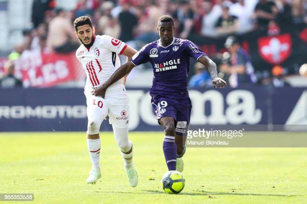 Somalia of Toulouse and Yassine Benzia of Lille during the Ligue 1 match between Toulouse and Lille OSC at Stadium Municipal on May 6 2018 in Toulouse