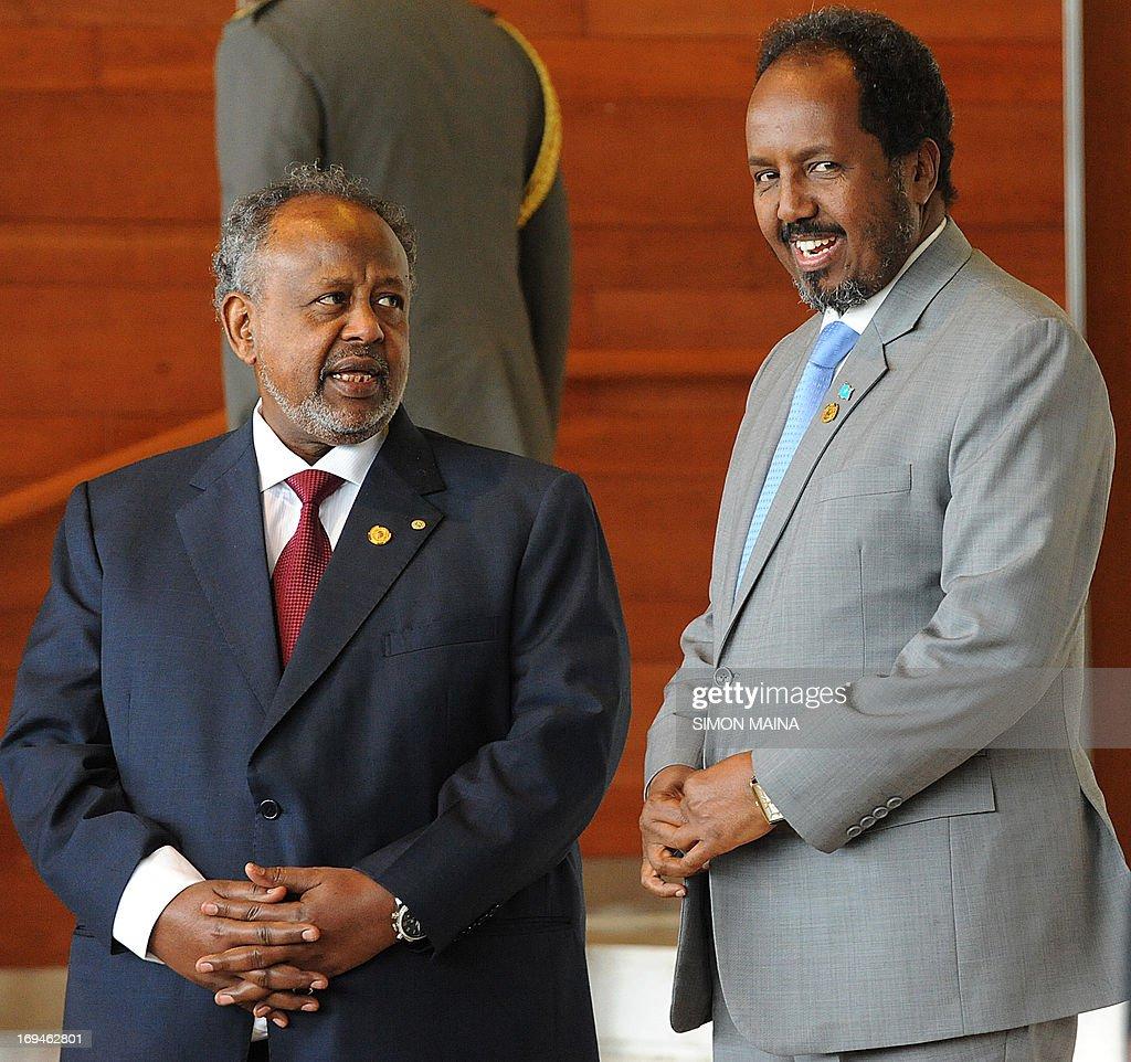 Somalia President Hassan Sheikh Mohamud speaks with Djiboutian