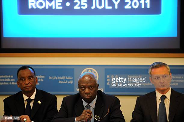 Somalia Vice Prime Minister Mohamed Ibrahim, FAO's head Jacques Diouf and French agriculture minister Bruno Le Maire listen during a press conference...
