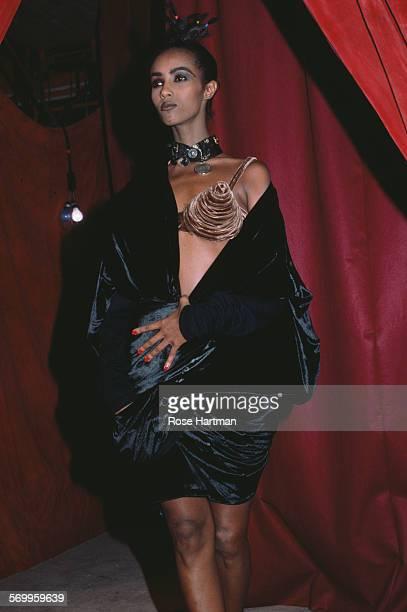 SomaliAmerican fashion model Iman showing a Jean Paul Gaultier designed cone bra USA circa 1990