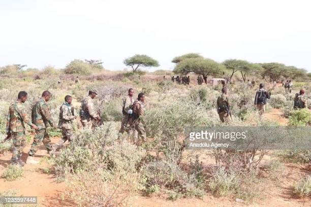Somalian Army members patrol during an operation as Somali army offensive killed 17 al-Shabaab terrorists in southern province of Middle Shabelle in...