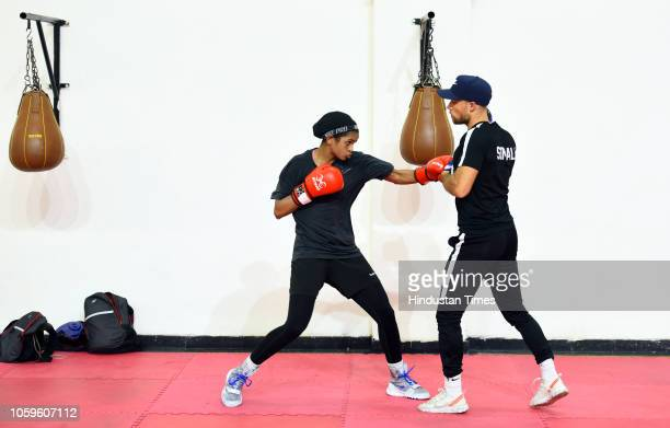 Somalian boxer Ramla Ali seen in action during the practice session for the upcoming 'AIBA Women's World Boxing Championships 2018' at IG Stadium on...