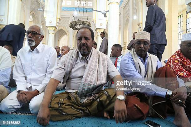 Somalian President Hassan Sheikh Mohamoud participate with Somalians to perform Eid al Fitr prayer at Tedamun AlIslam Mosque in Somalian capital...