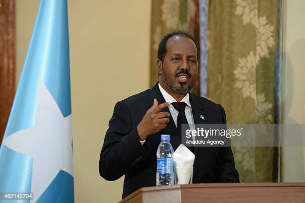 Somalian President Hassan Sheikh Mohamoud speaks during a press conference with Turkish President Recep Tayyip Erdogan in Mogadishu Somalia on...