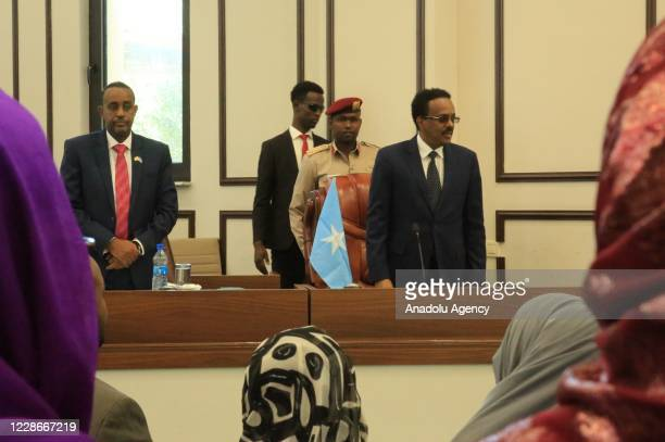 Somalian President Mohamed Abdullahi Farmaajo and newly appointed Mohamed Hussein Roble are seen after endorsed by all 215 members of parliament...