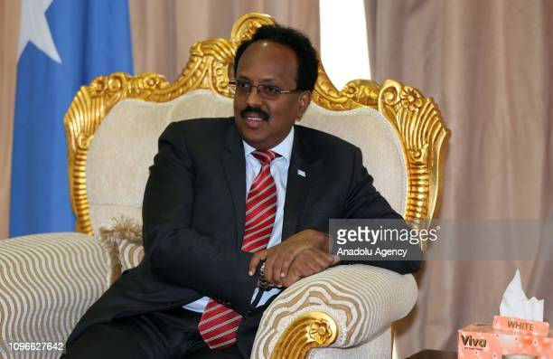 Somalian President Mohamed Abdullahi Farmajo arrives at the Addis Ababa Bole International Airport to attend the 32nd African Union Leaders' Summit...