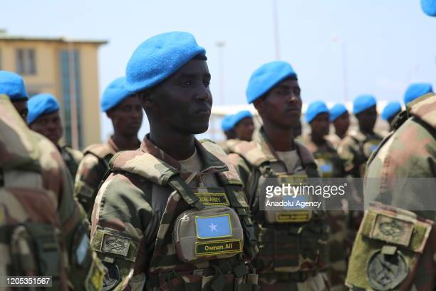 Somalian soldiers parade at the graduation ceremony at the Somalia-Turkish Task Force Command in capital Mogadishu on March 5, 2020 after completing...