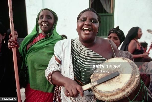 Somalian Woman Playing a Drum
