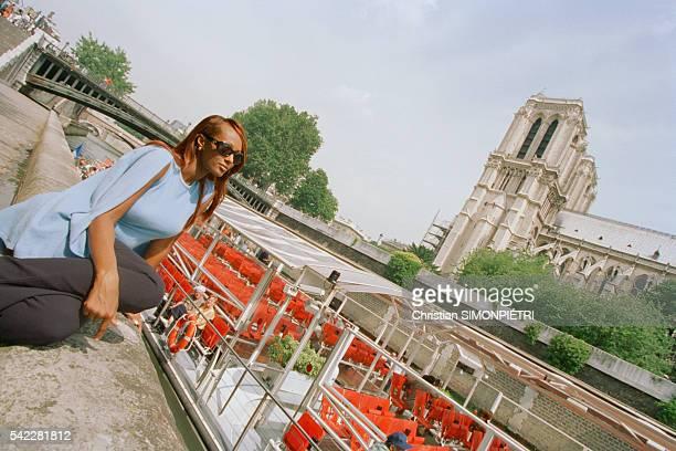 Somalianborn American supermodel Iman wife of British pop star David Bowie in Paris