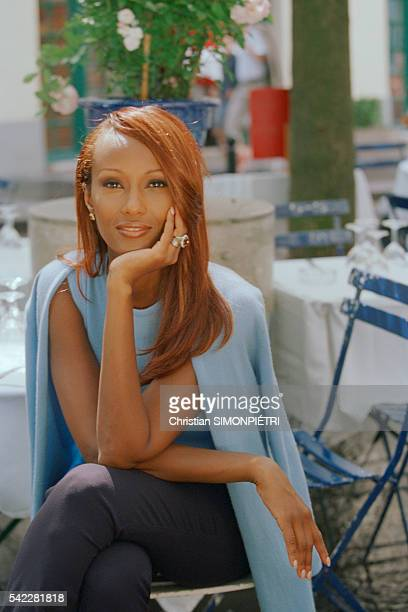 Somalianborn American supermodel Iman wife of British pop star David Bowie in Paris