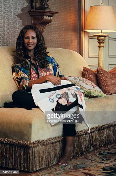 Somalianborn American supermodel Iman wife of British pop star David Bowie at home