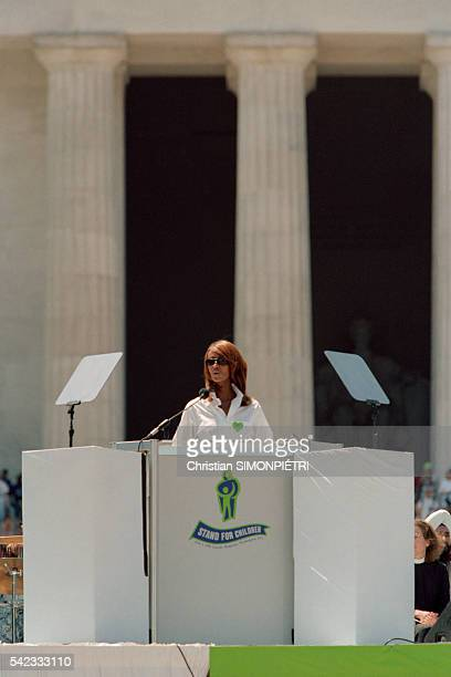 Somalianborn American supermodel Iman wife of British pop star David Bowie delivers a speech at the Stand For Children conference in New York