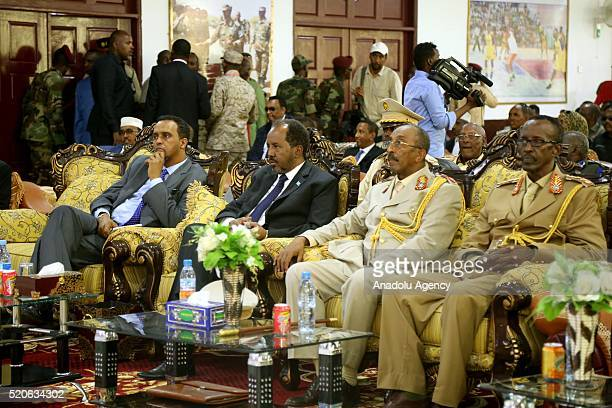 Somalia's President Hassan Sheikh Mohamoud attends a ceremony marking the 56th anniversary of the foundation Somalian Army at the courtyard of...