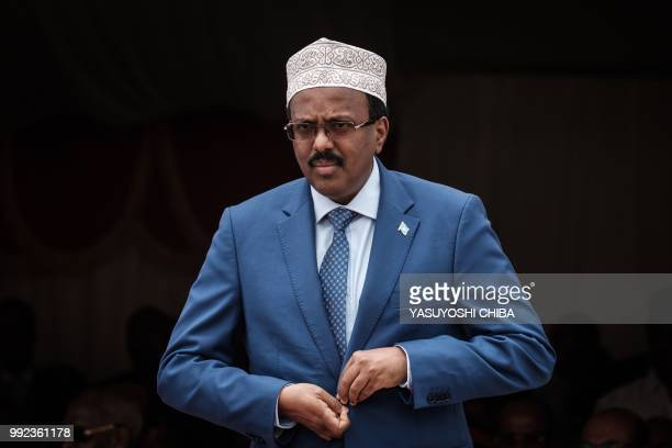Somalia's President Mohamed Abdullahi Mohamed commonly know as Farmajo walks to make his speech during the inauguration ceremony of Djibouti...