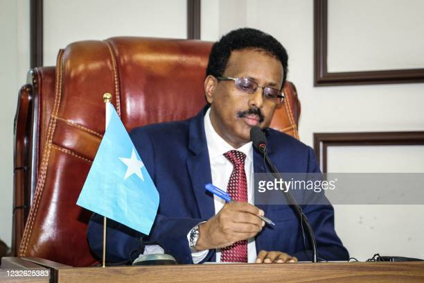 Somalia's President Mohamed Abdullahi Mohamed, commonly known by his nickname of Farmajo, attends the special assembly for abandoning the two-year...