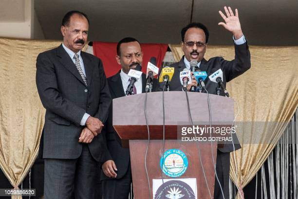 Somalia's President Mohamed Abdullahi Mohamed makes a speech with Ethiopia's Prime Minister Abiy Ahmed and Eritrea's President Isaias Afwerki during...