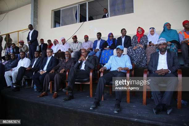 Somalia's President Mohamed Abdullahi Mohamed Prime Minister of Somalia Hasan Ali Khayre Turkish Ambassador to Mogadishu Olgan Bekar and Internal...