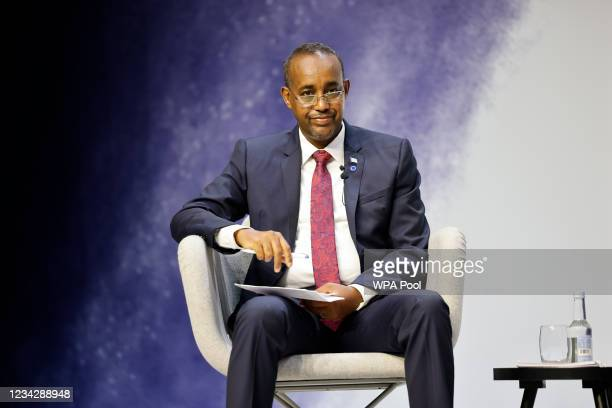 """Somalia's Prime Minister Mohamed Hussein Roble takes part in a session entitled """"The Power of Education"""" on the second day of the Global Education..."""