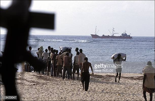 Somalia's Suffering On January 1st, 1992 - Merca: Arrival Of Rice For The ClCR