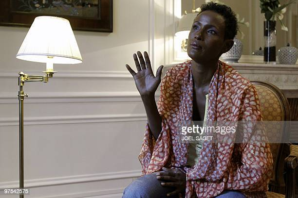 Somali-born model and human rights campaigner, Austrian Waris Dirie poses, on March 4, 2010 in Paris, during an interview as part of the sales...