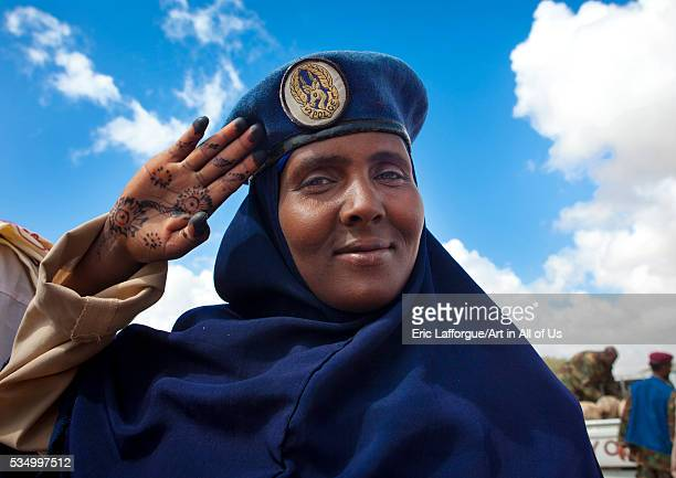 Somaliland Horn Of Africa Hargeisa portrait of a somali policewoman