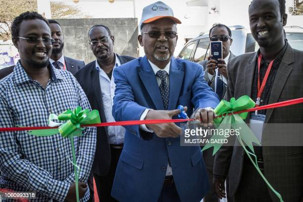 Somaliland's Vice President Abdirahman Saylici cuts the tape during the launching event of the first innovation and entrepreneurship hub in...