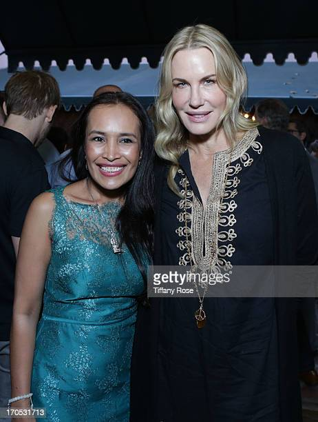 Somaly Mam and actress Daryl Hannah attend the Somaly Mam Foundation's 'Disrupting Slavery' Benefit Gala at 41 Ocean on June 13 2013 in Santa Monica...