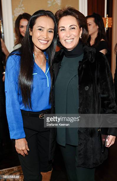 Somaly Mam and Sylvia Hakimi attend Angella Nazarian and Beth Friedman's Women ARE Launch Honoring CNN Hero Somaly Mam on January 25 2013 in Beverly...