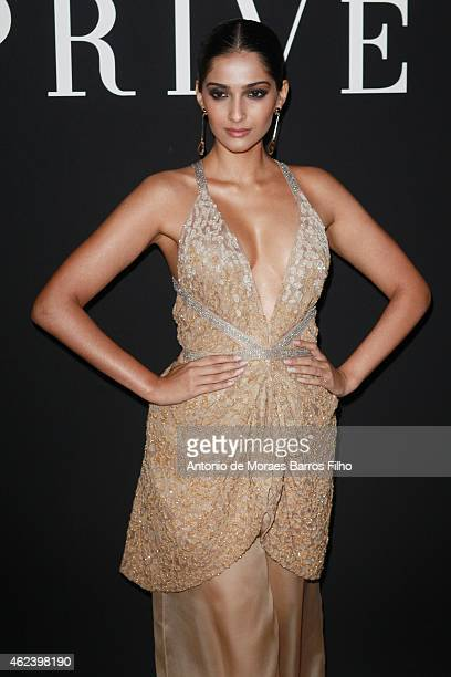 Somam Kapoor arrives the Giorgio Armani Prive show as part of Paris Fashion Week HauteCouture Spring/Summer 2015 on January 27 2015 in Paris France