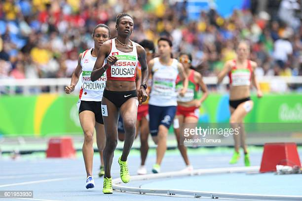 Somaya Bousaid of Tunisia competes in the women's 1500m T13 on day 3 of the Rio 2016 Paralympic Games at the Olympic stadium on September 10 2016 in...