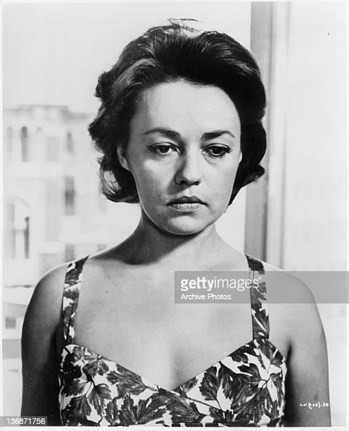 Somber looking Jeanne Moreau in a scene from the film 'La Notte', 1961.