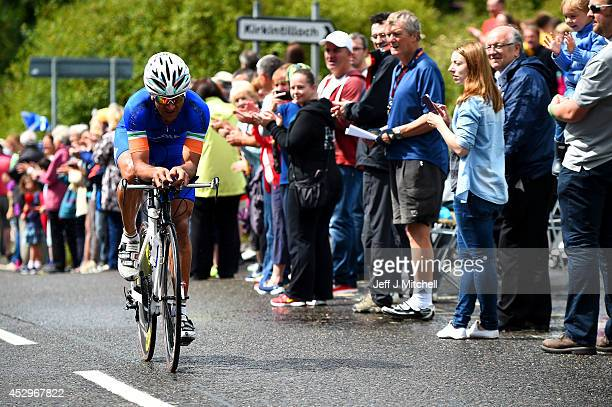 Sombir of India competes in the Men's Individual Time Trial during day eight of the Glasgow 2014 Commonwealth Games on July 31 2014 in Glasgow...