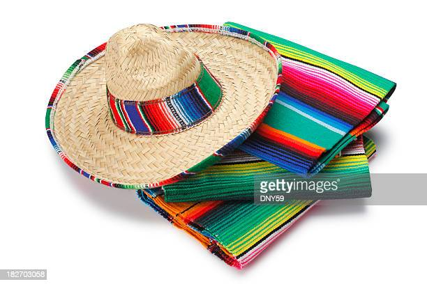 sombrero and blankets - mexican hat stock pictures, royalty-free photos & images
