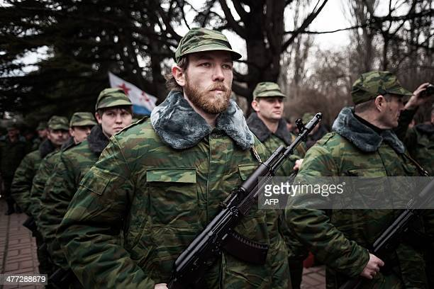Some 100 soldiers of the newly formed Crimean army attend the oath ceremony in Simferopol on March 8, 2014. A dangerous escalation in the flashpoint...