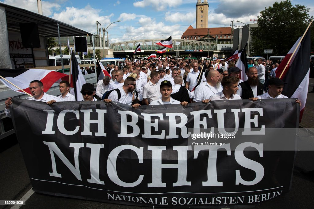 Some 1000 participants affiliated with Neo-Nazi and extreme right groups marched through the street of Berlin's Spandau district in commemoration of 30 years to Rudolf Hess's death, on August 19, 2017 in Berlin, Germany. Hess committed suicide on August 17, 1987 at Spandau Prison and he also served as Adolf Hitler's deputy. The march attracted counter demonstrations along its route, organized by several left-wing groups and political parties.