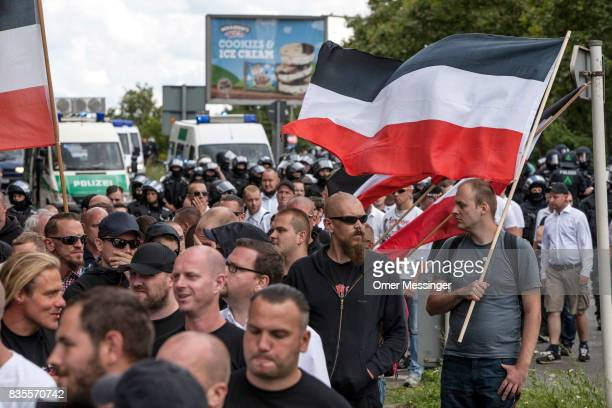 Some 1000 participants affiliated with NeoNazi and extreme right groups marched through the street of Berlin's Spandau district in commemoration of...