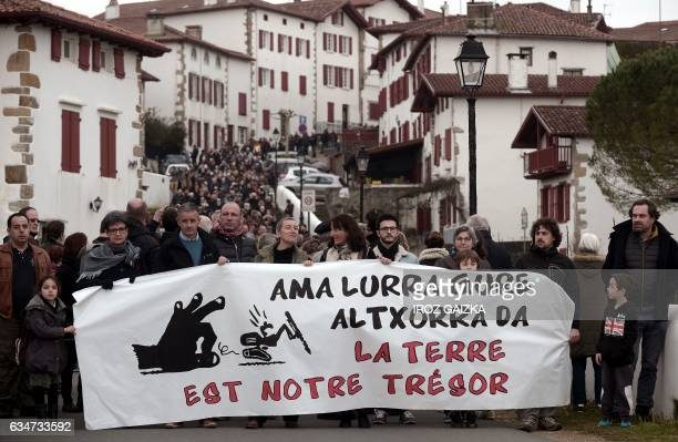 Some 1000 people demonstrate in the streets of Espelette against gold mines projects by Sudmine group on a dozen town's territories of the Basque...