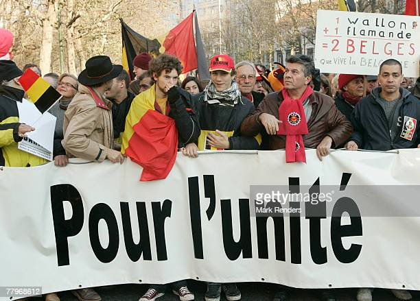 Some 15000 Walloons and Flemish march against a possible separation of Belgium on November 18 2007 in the Belgian capital Brussels Belgium which has...
