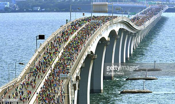 Some 16000 people take part in the Chiba Aqualine Marathon event on the Tokyo Bay Aqualine expressway which links Chiba and Kanagawa prefectures...