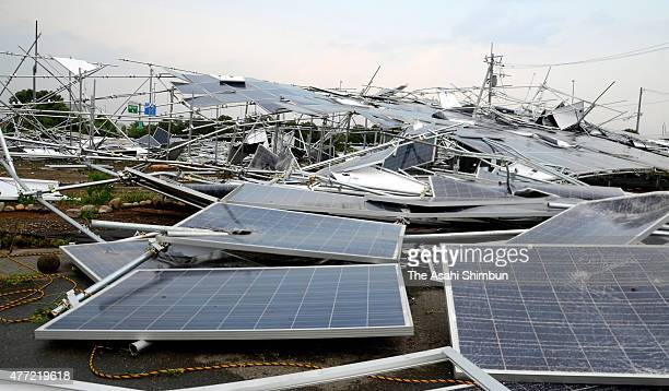 Some 200 solar panels are blown off by strong winds on June 15, 2015 in Isesaki, Gunma, Japan. The blustery winds overturned cars and two injured,...
