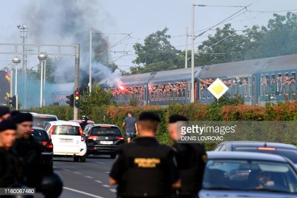 Some 2000 fans of Hungarian football club Ferencvaros arrive by train near the Maksimir Stadium in Zagreb on August 6, 2019 before attending the UEFA...