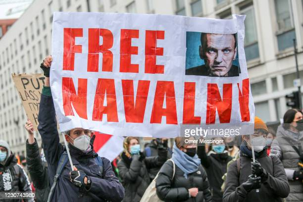 Some 2500 supporters of Russian opposition politician Alexei Navalny marched in protest demand for his release from prison in Moscow on January 23,...