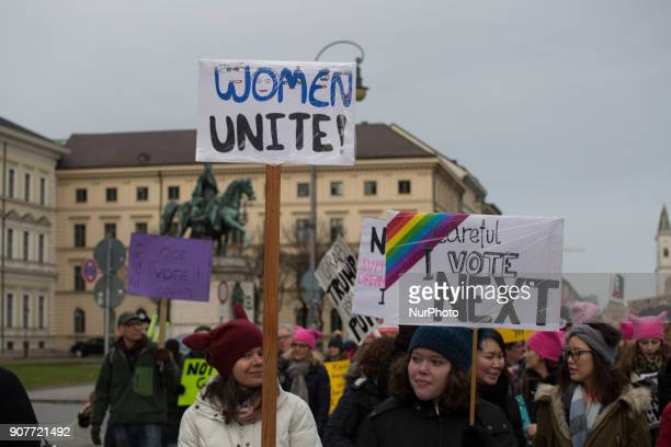 Some 300 people gathered in Munich Germany on 20 January 2018 for the women's march The protest was organized by the Democrats Abroud They protested...