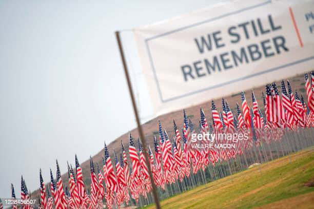 Some 3,000 flags comprise a 9/11 memorial at Pepperdine University in Malibu, California, on September 11 as the US commemorates the 19th anniversary...
