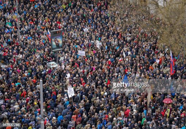 Some 40000 protesters demand the resignation of the Slovak police chief Tibor Gaspar during a protest 'For Decent Slovakia' at the Slovak National...