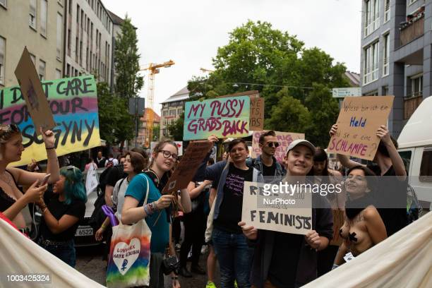 Some 500 people demonstrated through the streets of Munich Germany on 21 July 2018 to protest against sexism rape and sexual harassment The Slut Walk...